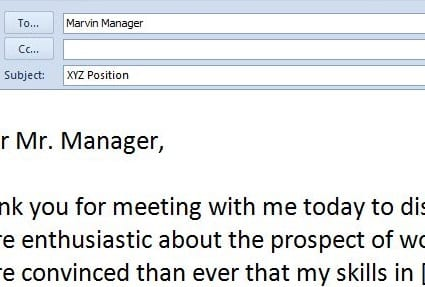 thank you email for job interview