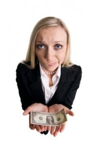 Businesswoman with dollar