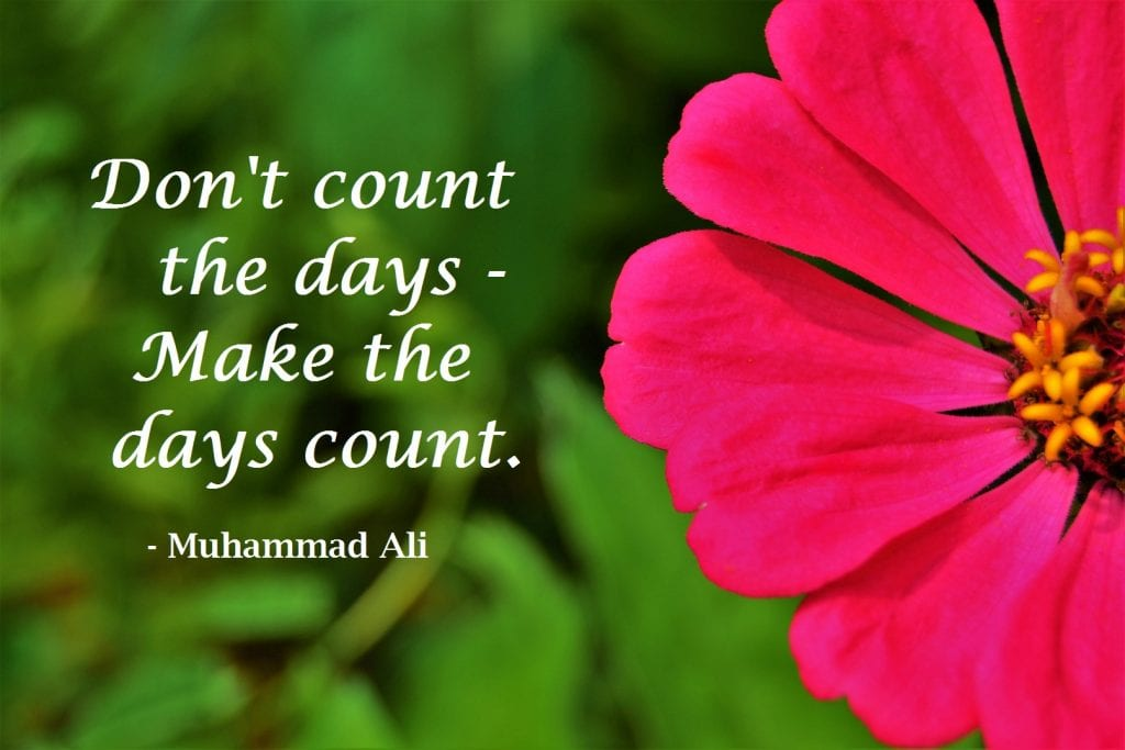 Don't count the days, make the days count. Muhammad Ali