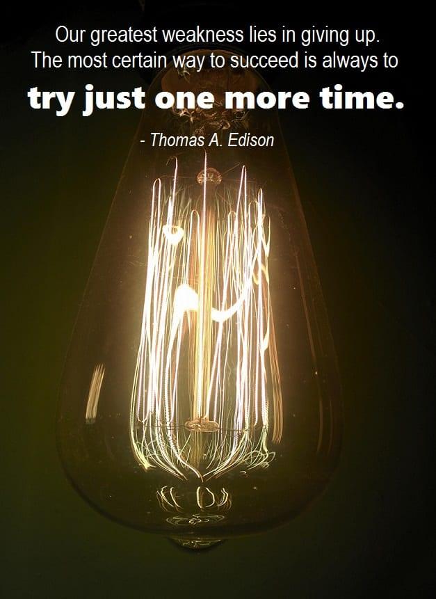 Job Search Inspiration - Thomas Edison Quote